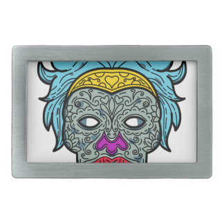 Female Calavera Sugar Skull Mono Line Rectangular Belt Buckle