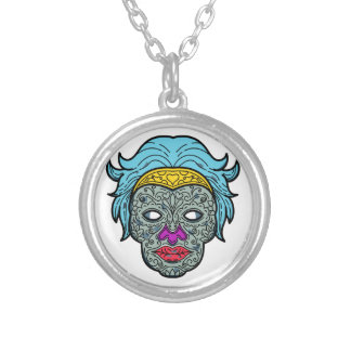 Female Calavera Sugar Skull Mono Line Silver Plated Necklace