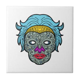 Female Calavera Sugar Skull Mono Line Tile