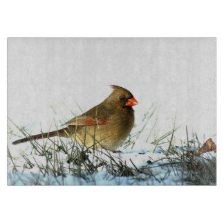 Female Cardinal on Snow Glass Cutting Board
