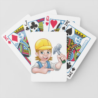 Female Carpenter Woman Cartoon Character Bicycle Playing Cards
