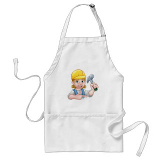 Female Carpenter Woman Cartoon Character Standard Apron