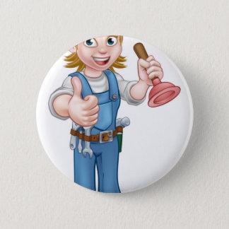 Female Cartoon Plumber Holding Plunger 2 Inch Round Button