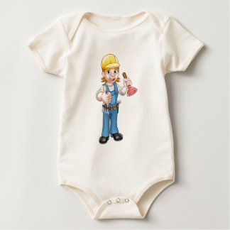 Female Cartoon Plumber Holding Plunger Baby Bodysuit