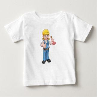 Female Cartoon Plumber Holding Plunger Baby T-Shirt