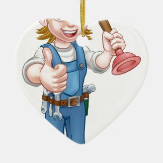 Female Cartoon Plumber Holding Plunger Ceramic Ornament