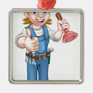 Female Cartoon Plumber Holding Plunger Metal Ornament