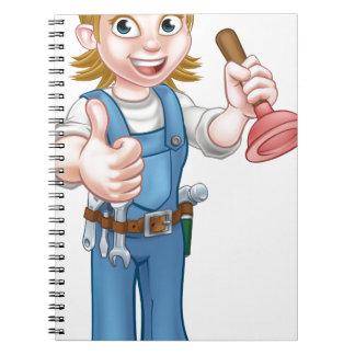 Female Cartoon Plumber Holding Plunger Notebooks