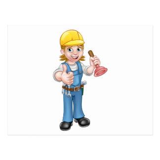 Female Cartoon Plumber Holding Plunger Postcard