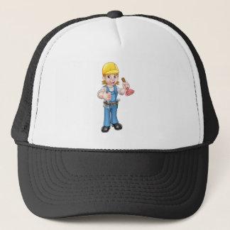 Female Cartoon Plumber Holding Plunger Trucker Hat