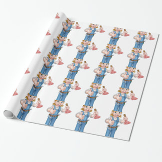 Female Cartoon Plumber Holding Plunger Wrapping Paper