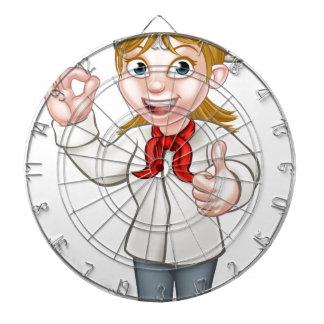 Female Chef Cartoon Character Dartboard