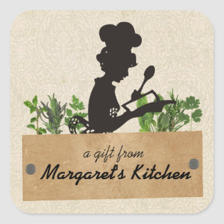 Female chef silhouette herb cooking gift tag label