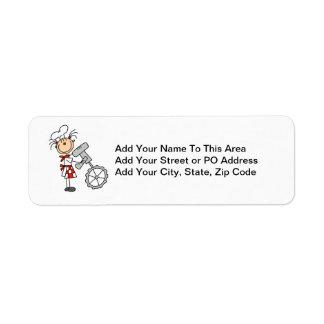 Female Chef Using Mixer Return Address Label