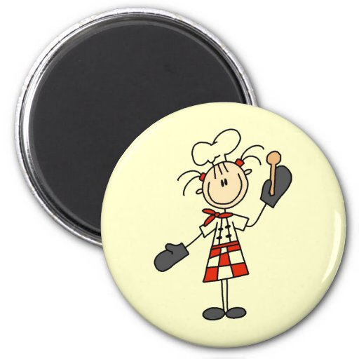 Female Chef With Mitts and Wooden Spoon Magnet