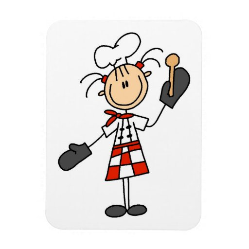 Female Chef With Mitts and Wooden Spoon Flexible Magnet