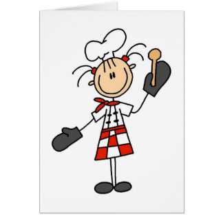 Female Chef with Oven Mitts Tshirts and Gifts Greeting Card