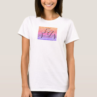 female cyclist multi color stripes T-Shirt