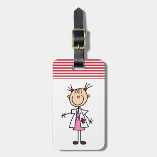 Female Doctor Stick Figure Luggage Tag
