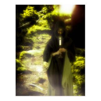 Female druid in forest postcard