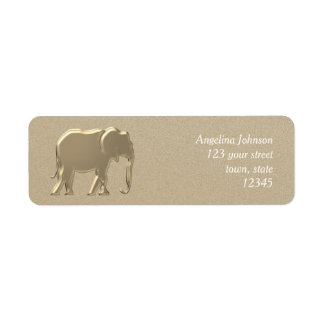 Female Elegant Golden Elephant Sophisticated Return Address Label