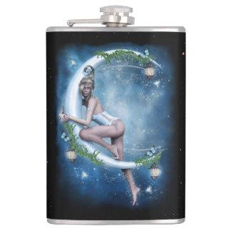 Female Elf Moon 8 oz Vinyl Wrapped Flask
