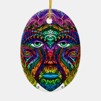 Female Face Art with Colorful Hair Dye Rainbow Ceramic Oval Ornament