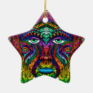 Female Face Art with Colorful Hair Dye Rainbow Ceramic Star Ornament