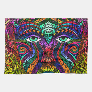 Female Face Art with Colorful Hair Dye Rainbow Hand Towels