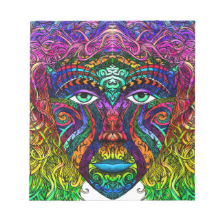 Female Face Art with Colorful Hair Dye Rainbow Notepads