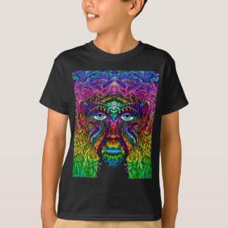 Female Face Art with Colorful Hair Dye Rainbow T-Shirt