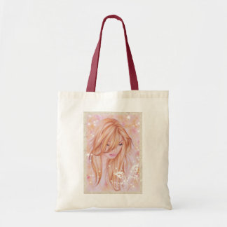 Female face with butterfly motif tote bag