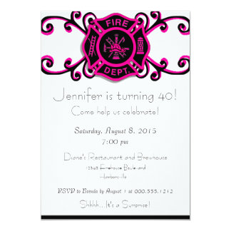 Female Firefighter Birthday Invitation