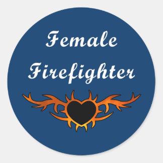 Female Firefighter Tattoo Round Sticker