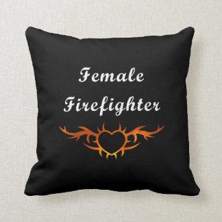 Female Firefighter Tattoo Throw Pillow