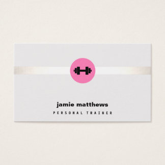 Female Fitness Personal Trainer Pink Dumbbell Business Card