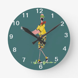 Female Flamingo Golfer wall clock