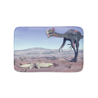 Female gigantoraptor going to its nest - 3D render Bath Mat