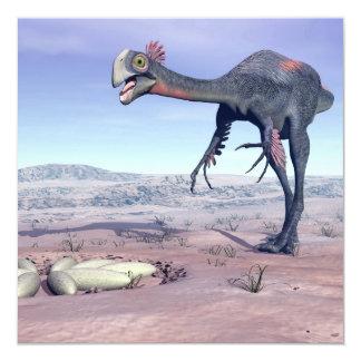 Female gigantoraptor going to its nest - 3D render Card