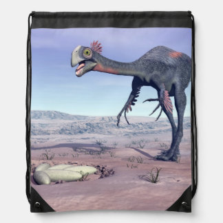 Female gigantoraptor going to its nest - 3D render Drawstring Bag