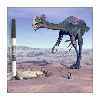 Female gigantoraptor going to its nest - 3D render Dry Erase Board