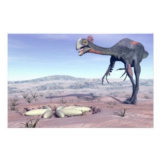 Female gigantoraptor going to its nest - 3D render Stationery