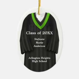 Female Grad Gown Black and Green Ornament