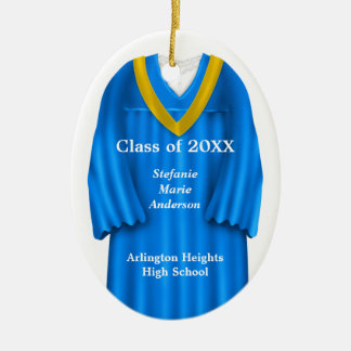 Female Grad Gown Blue and Gold Ornament