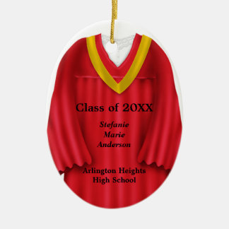 Female Grad Gown Red and Gold Ornament