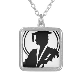 Female Graduate Silhouette Silver Plated Necklace