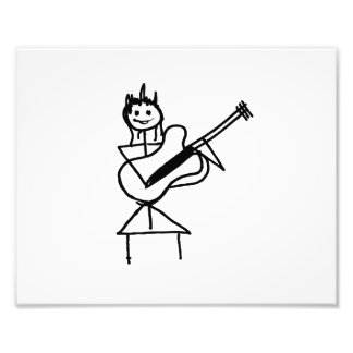 female guitar stick figure black and white photograph