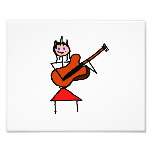 female guitar stick figure brown gtr blue eyes red photo print