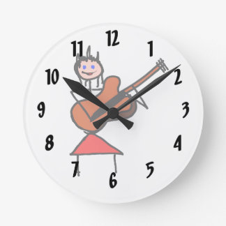 female guitar stick figure brown gtr blue eyes red round clock