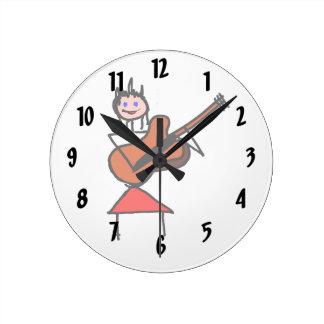 female guitar stick figure brown gtr blue eyes red wall clock